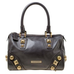 Burberry Dark Brown Leather Mage Studs Chester Bowler Bag