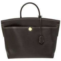 Burberry Dark Brown Leather Society Top Handle Bag
