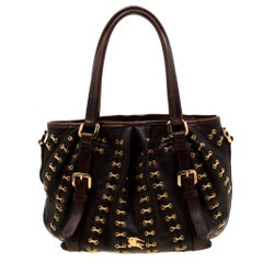Burberry Dark Brown Metal Stitching Leather Lowry Tote