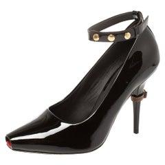 Burberry Dark Brown Patent Leather Jermyn Peep Toe Ankle Cuff Pumps Size 39.5