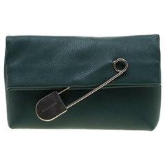 Burberry Dark Green Leather Pin Clutch