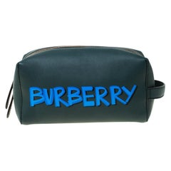 Burberry Dark Green Leather Pouch