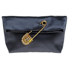 Burberry Dark Grey Satin Crystal Embellished Pin Clutch