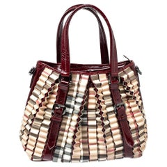 Burberry Dark Red/Beige House Check PVC and Patent Leather Cartridge Pleat Tote