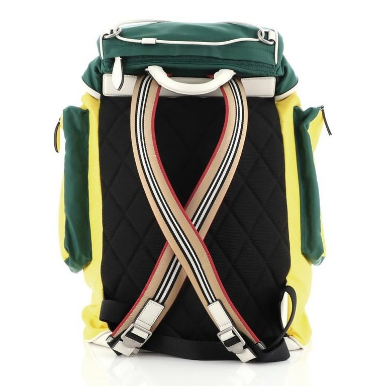 Burberry Double Pocket Drawstring Backpack Nylon with Leather Medium In Good Condition For Sale In New York, NY