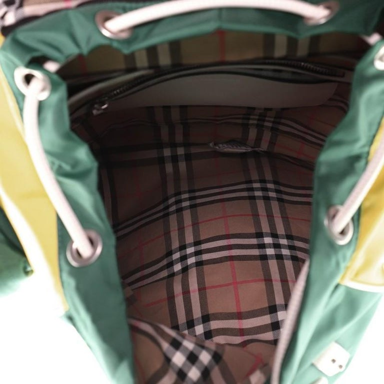 Burberry Double Pocket Drawstring Backpack Nylon with Leather Medium For Sale 1