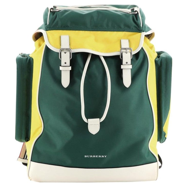 Burberry Double Pocket Drawstring Backpack Nylon with Leather Medium For Sale