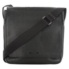 Burberry Emmett Messenger Bag Check Embossed Leather Small