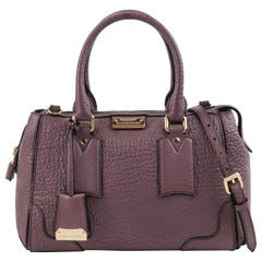 "BURBERRY ""Gladstone"" Mauve Heritage Leather Top Handle Satchel Handbag"