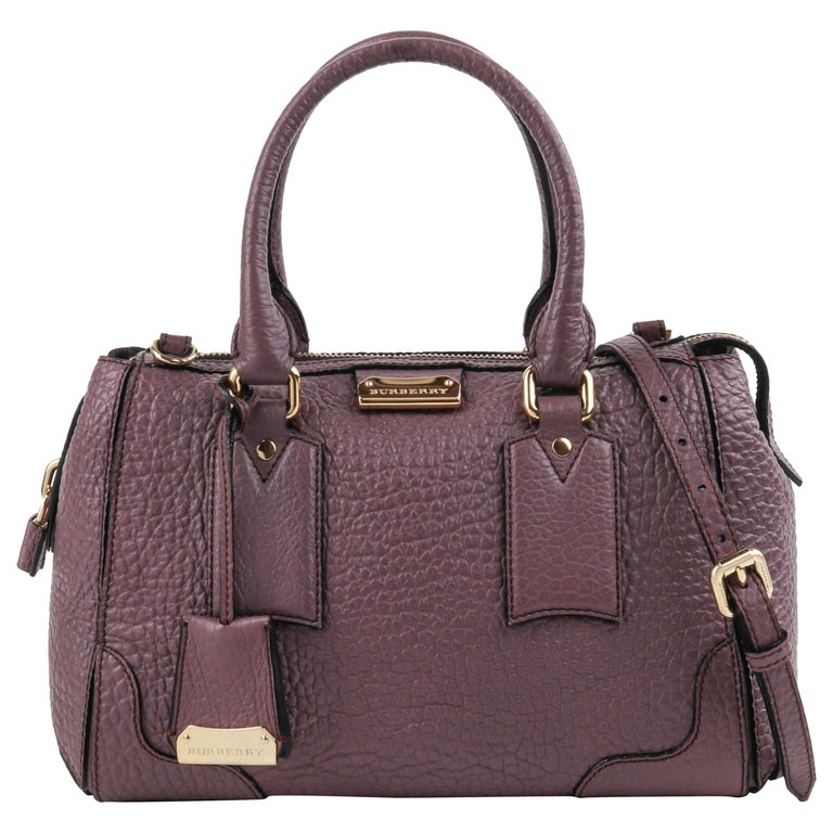 "BURBERRY ""Gladstone"" Mauve Heritage Leather Top Handle Satchel Handbag For Sale"