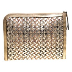 Burberry Gold/Beige Haymarket Check PVC and Leather Document Case