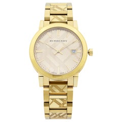Burberry Gold Ion-Plated Stainless Steel Gold Dial Quartz Unisex Watch BU9038