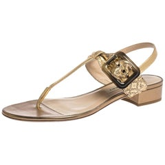 Burberry Gold Laser Cut Leather Ceilab Ankle Strap Thong Sandals Size 40