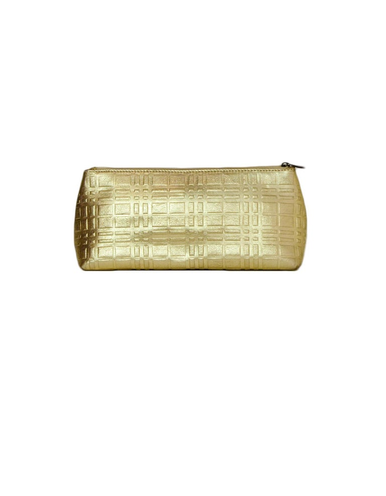 Burberry Gold Leather Embossed Plaid Cosmetic Pouch/Clutch Bag In Excellent Condition For Sale In New York, NY