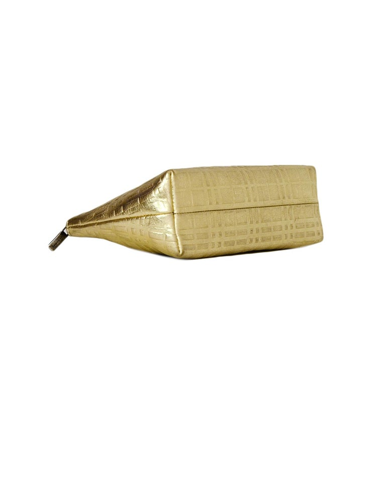 Women's or Men's Burberry Gold Leather Embossed Plaid Cosmetic Pouch/Clutch Bag For Sale
