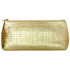 Burberry Gold Leather Embossed Plaid Cosmetic Pouch/Clutch Bag