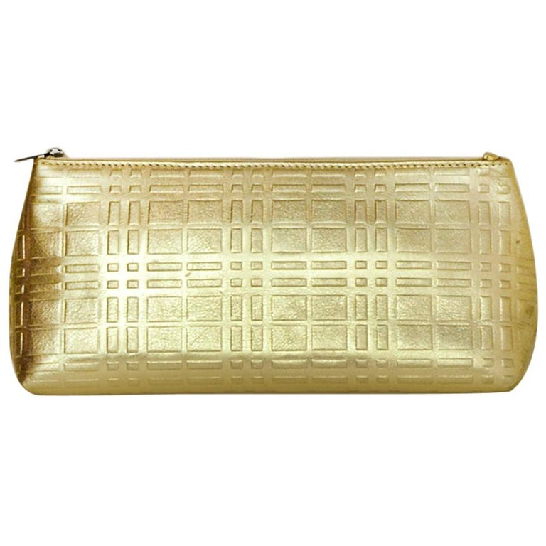 Burberry Gold Leather Embossed Plaid Cosmetic Pouch/Clutch Bag For Sale