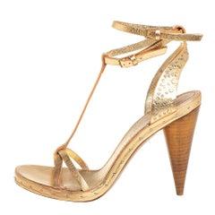 Burberry Gold Leather Hans T Strap Sandals Size 39.5