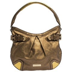 Burberry Gold Leather Hartley Hobo