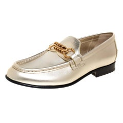 Burberry Gold Leather Solway Chain Detail Slip On Loafers Size 39