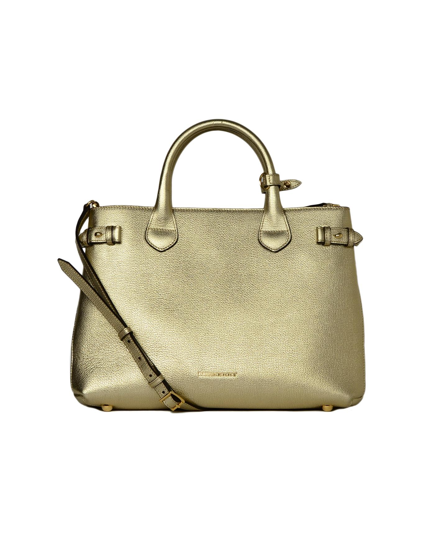 3b6f7b183a8 Burberry gold metallic leather banner tote bag tartan plaid canvas sides  for sale at stdibs JPG