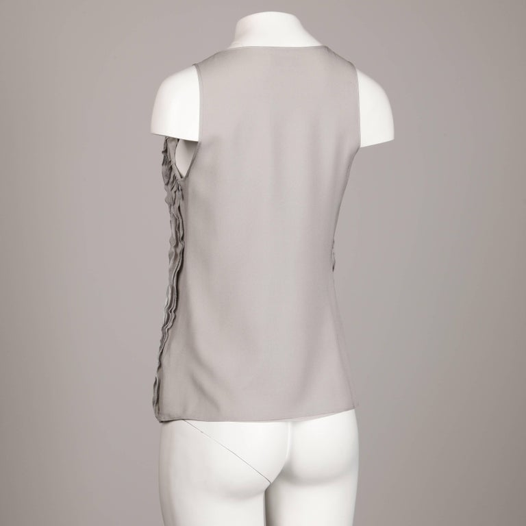 Burberry Gray Silk Tank Top For Sale 1