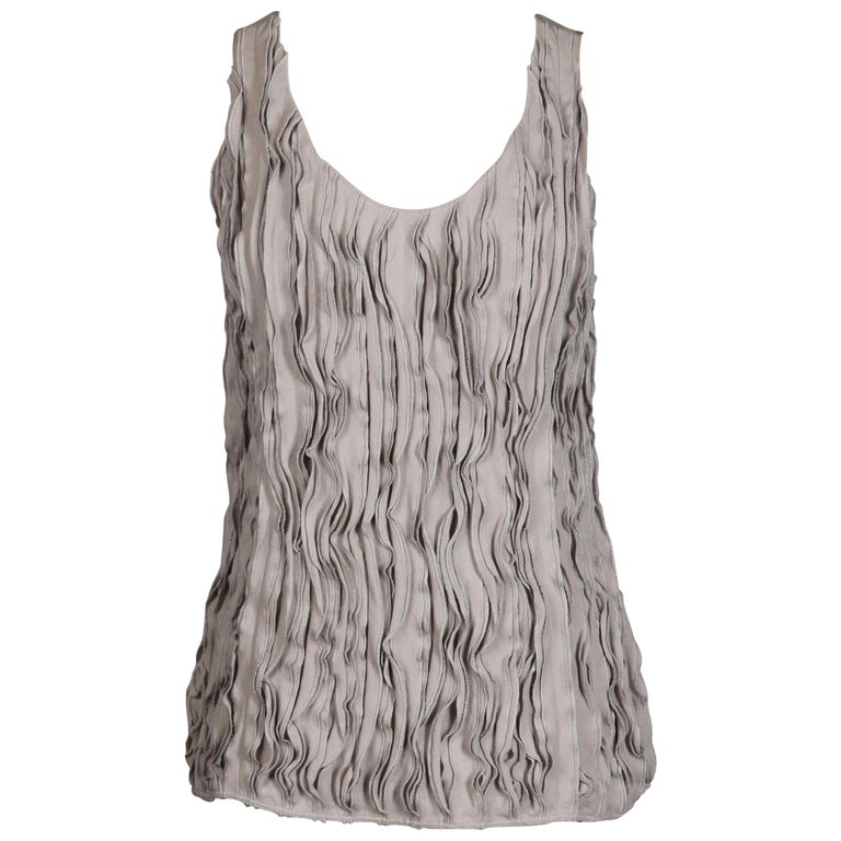 Burberry Gray Silk Tank Top For Sale