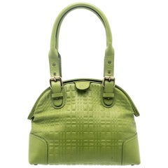 Burberry Green Embossed Check Leather Satchel