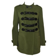 Burberry Green Military Style Jacket W/ 4 Leather Closure Straps A/W 2011/2012