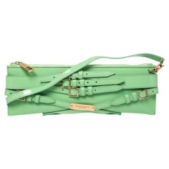 Burberry Green Patent Leather Bridle Parmoor Clutch