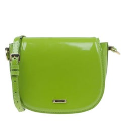 Burberry Green Patent Leather Shoulder Bag