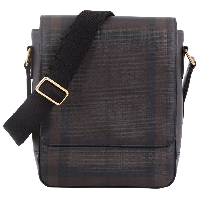 1520fd9e944e Burberry Greenford Crossbody Bag Smoked Check Coated Canvas at 1stdibs