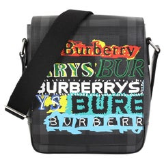 Burberry Greenford Graffiti Crossbody Bag Smoked Check Coated Canvas