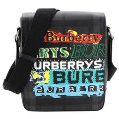 Burberry Greenford Graffiti Crossbody Bag Smoked Check Coated Canvas