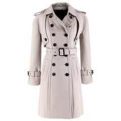 Burberry Greige Cotton & Wool Double Breasted Trench Coat - Size US 2