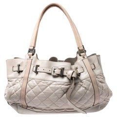 Burberry Grey/Beige Quilted Leather Enmore Hobo