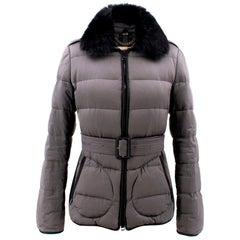 Burberry Grey Belted Fur Collar Puffer Jacket - Size Small