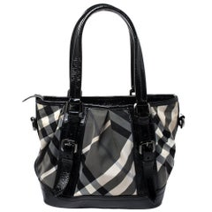 Burberry Grey/Black Beat Check Nylon and Patent Leather Lowry Tote