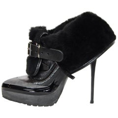 Burberry Grey/Black Leather/Shearling Fold Over High Heel Ankle Boot Sz 37