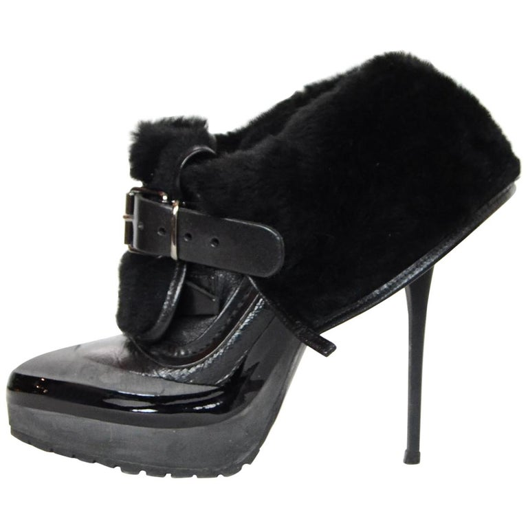 84b92d12912 Burberry Grey Black Leather Shearling Fold Over High Heel Ankle Boot Sz 37  For Sale at 1stdibs
