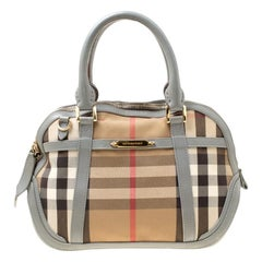 Burberry Grey House Check Fabric and Leather Orchard Bowler Bag