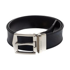 Burberry Grey Smoked Check Coated Canvas and Leather James Reversible Belt 80CM