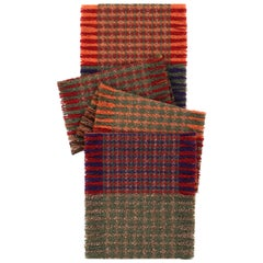 BURBERRY Happy Fringe Color-Block Plaid Cashmere Gold Fiber Knit Wrap Scarf