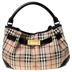 Burberry Haymarket Check Beige Canvas and Leather Medium Willenmore Hobo