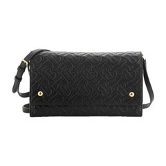 Burberry Hazelmere Wallet on Strap Monogram Embossed Leather