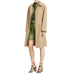 Burberry Honey Technical Cotton Car Coat with Removable Hood - S