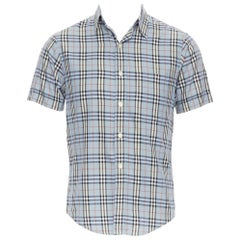 BURBERRY House Check blue checkered cotton short sleeve casual shirt S