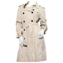 Burberry Icon Gabardine Trench Coat in kight beige size 12 UK