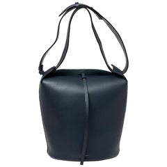 Burberry Indigo Leather Large Bucket Bag