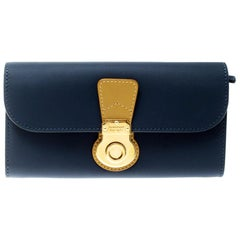 Burberry Ink Blue Leather Halton Continental Wallet